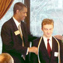 Wojtek Solak, with Dean George Grant at Pi Alpha Alpa induction, 2009